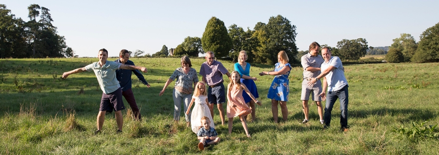 Family photography, wide open space, 3 generations