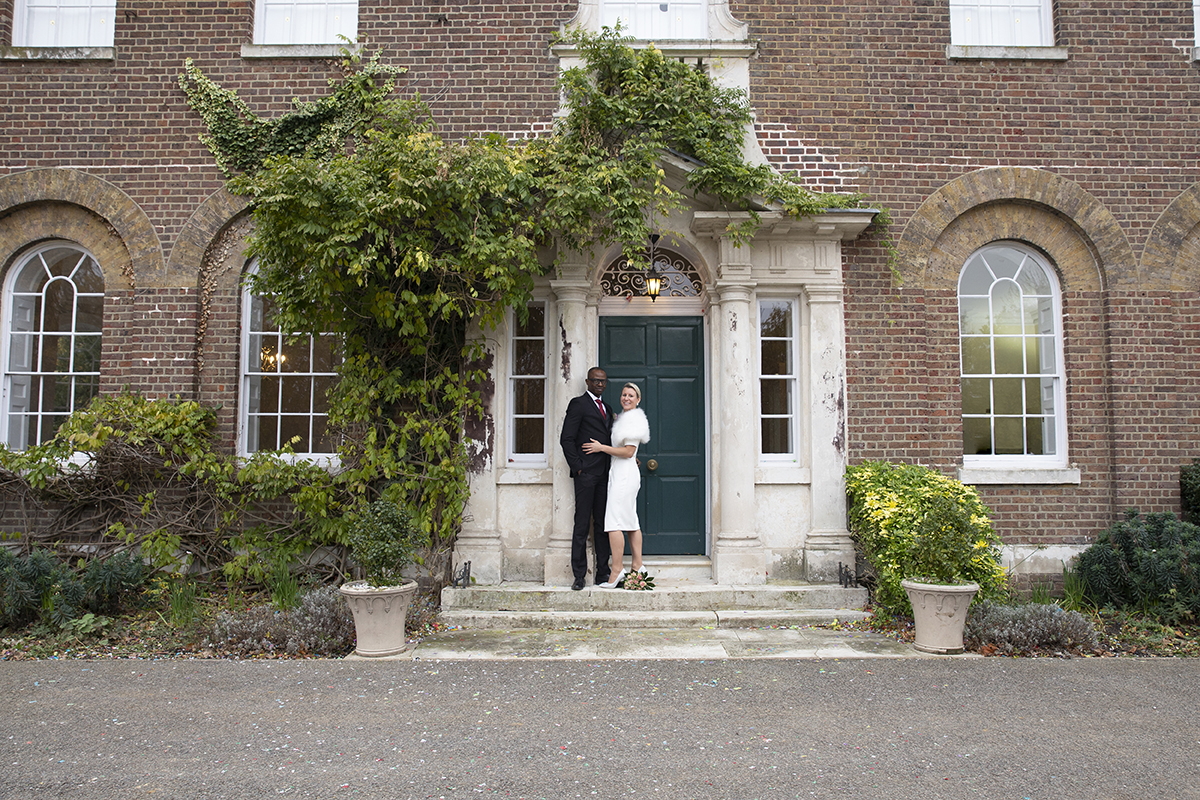 Bridal couple outside Morden Park House. Kirsten Duberly Photography. Weddings at Morden Park House